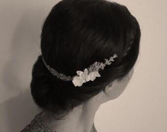 Bridal headpiece, bridal halo for up-do, metalic headpiece, bridal vintage accessories, back tiara, back of head, boho wedding comb