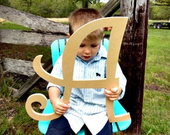 Unfinished Wooden Alphabet Letter, Wood Letter, Wall Decor, Curlz