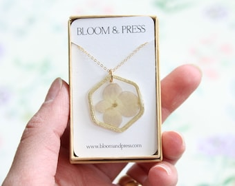 Natural White Hydrangea Pressed Flower Necklace