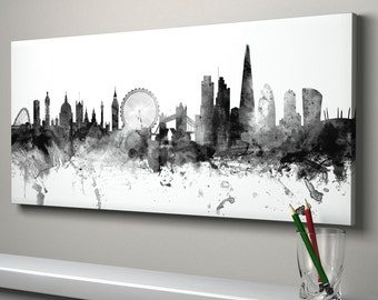 London Skyline Canvas, London England Cityscape Box Canvas Art Print (1430)