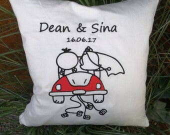 Wedding Pillow embroidered with wish name