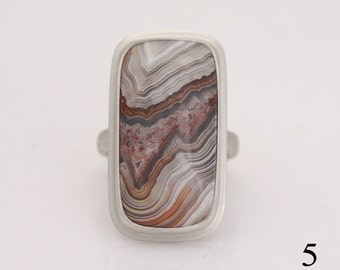 Crazy lace agate ring, size 5 sterling silver ring, #718.