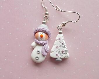 Snowman Earrings - Christmas Earrings - Christmas Gift - Holiday Gift - Christmas Tree Earrings - Charm Earrings - White Christmas Jewelry