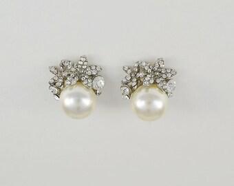 Bridal Pearl Earrings, Swarovski Crystals, Silver Tone Wedding Jewelry, Stud Earrings, Ella Earrings - Will Ship in 1-2 Business Days