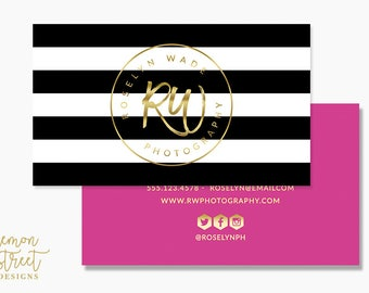 Foil business cards etsy black stripes fuschia and gold foil business cards photographer wedding planner event planner reheart Image collections