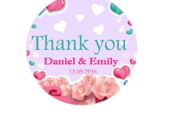 Thank you Sticker Thank you Label Round Labels Favor Stickers Thank you Labels Personalized Stickers Labels for Wedding Favor Boxes