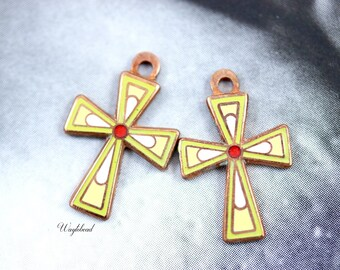 Petite Vintage Copper Enamel Cross Pendant Lime Green and Yellow - 2