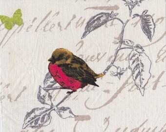 4 BIRDS: APPLIQUE BIRD MOTIF RAW LINEN