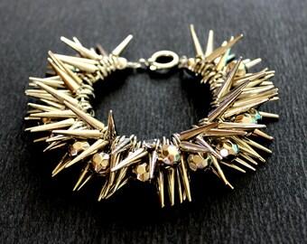 Spike Bracelet, Silver Spike Bracelet, Punk Spike Bracelet, Punk Rock Bracelet, Gothic Bracelet, Gothic Jewelry, Stud Punk Rock Bracelet