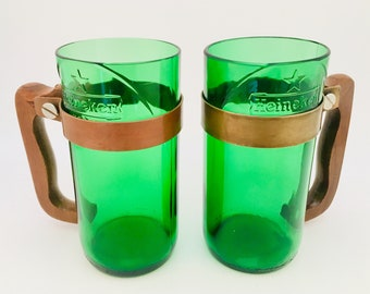 UPCYCLED BEER MUG- Made for recycled Beautiful Green beer bottles