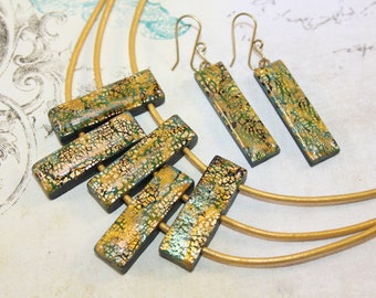 Olive and gold earrings and necklace set