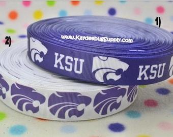3 yards KSU - Kansas State University -  7/8 in or 1 inch - Printed Grosgrain Ribbon