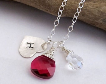 Heart Initial Necklace. Sterling Silver  Ruby Swarovski crystal and Wire Wrapped Teradrop Charm