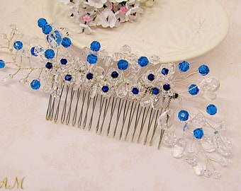 Something blue wedding hair comb, sapphire blue bridal comb, royal blue bridal hair comb, blue bridal headpiece, blue hairpiece, blue hair