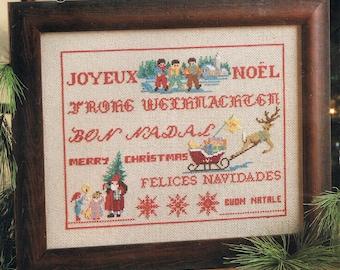 Merry Christmas Sampler Cross Stitch Pattern - Christmas Cross Stitch Chart - Merry Christmas In Different Languages