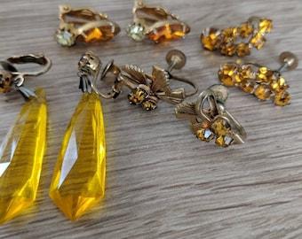 Lot of Vintage Topaz Rhinestone Earrings