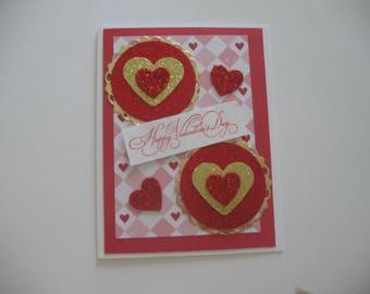Sale - Glittery Hearts Valentine Card