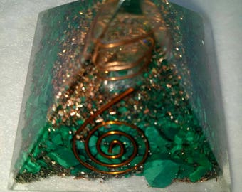 Orgone Pyramid Congo Malachite Natural Stone 50 MM With Crystal ,Copper, Metal And Pyrite