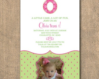 PRINTABLE - 5x7 Girlie Monogram- Birthday Invitation