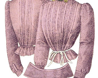 1902 Edwardian Corsage/blouse pattern - sized for you from antique original - with bonus lingerie and library - #290