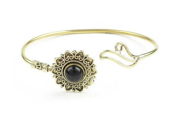 Black Onyx Mandala Bracelet, Onyx Brass Bracelet, Gemstone Bracelet, Wrap Around Bracelet, Festival Jewelry, Boho