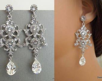 Bridal Earrings, Swarovski Teardrop earrings, Long Rhinestone Earrings, Wedding Crystal Earrings, Statement vintage Bridal Earrings, MELANIE