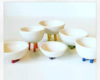 Small bowls with rainbow feet