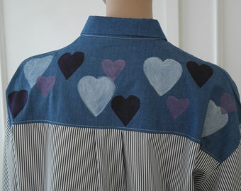 Hand Painted Blouse - LOVE Hearts