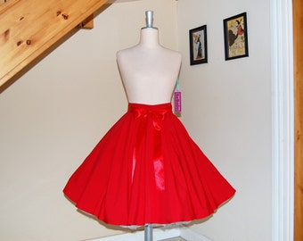 Red full circle skirt ,Swing skirt , Holiday Rockabilly skirt