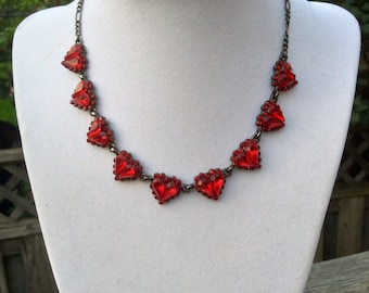Romantic Vintage Red Heart Necklace