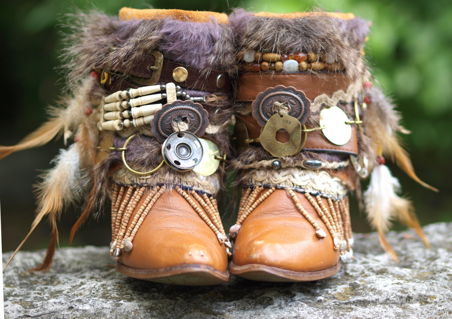 Well known Custom upcycled REWORKED vintage BOHO boots festival BOOTS QN22