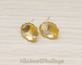 ERG163-MG // Matte Gold Plated Organic Round Ear Post, 2 Pc