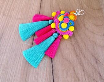 Colorful Tassel Earrings, Long Soutache Earrings, Pom Pom Earrings, Tassel Earrings with Pompoms, Soutache Earrings