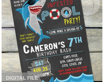 "Shark Pool Party Birthday Chalkboard Invitation Summer Swim Boy or Girl - DIGITAL Printable Invite - 5"" x 7"""