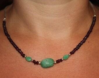Choker chain snake Garnet gemstones and chrysoprase
