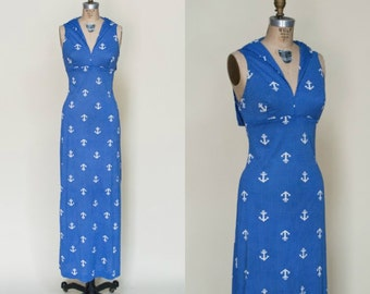 Vintage Anchors Dress --- 1960s Blue Maxi Dress