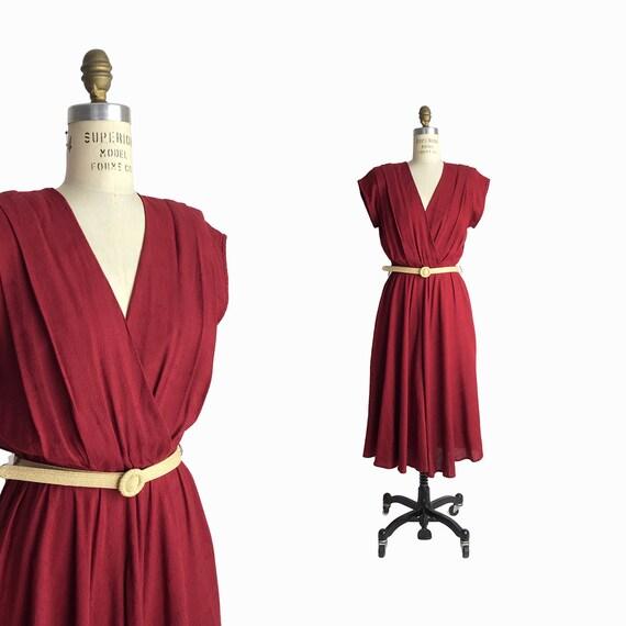 Vintage 80s Burgundy Pleated Midi Dress / Cross Front Dress / Short Sleeve V-Neck Dress / Red Wine - women's small