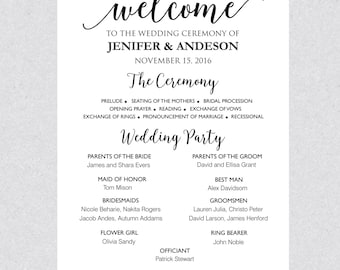 Printable Wedding Program Sign Template, Wedding Poster, Ceremony Program Sign Instant Download PDF DIY WPS023