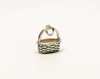 FLOWER BASKET, Basket Charm, Flower Girl Gift, Silver Basket, Mini Basket, Basket Necklace, Basket Jewelry, Sterling Silver, Charms, Wedding