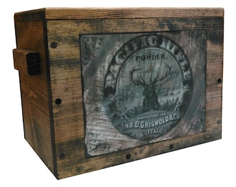 Wooden Ammo Crate - Wood Cartridge Box - Gun Accessories Storage with Vintage Stag Ad