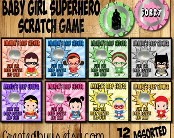 Baby girl shower scratch off cards Superhero Girl Baby Scratch Game Scratch Super Baby girl Scratch off game Favors Scratch tags 12 Precut