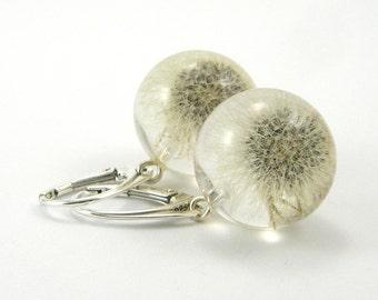 Full White Dandelion Earrings, Resin Earrings, resin Jewelry