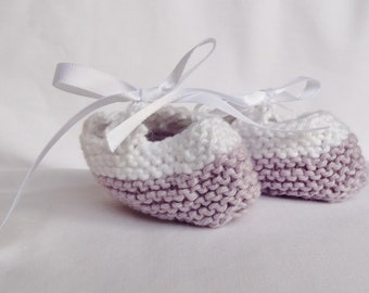 Handknitted Cotton Booties for Newborns - Mauve and White