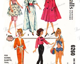 Vintage McCall's 6260 - for 11 1/2 inch dolls such as barbie, doll sewing patterns - 1960's - PDF file