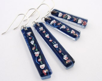 Fused Glass Earrings: Cherry Blossoms Bars *NEW*