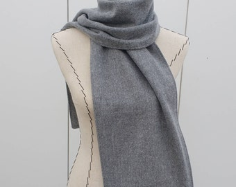 Flannel Scarf for Him or Her, Gray Flannel Scarf