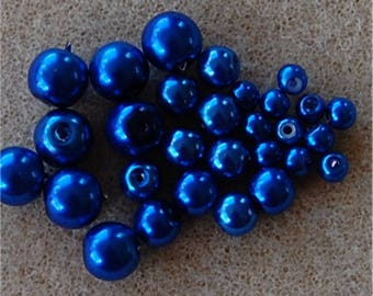 PEARL Beads, Set of 3 Sizes, Royal Blue, sold in units of 50 @ 8mm + 40 @ 6mm + 50 @ 4mm, a total of 140 beads.