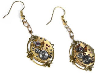 Steampunk Jewelry Earrings GOLD Jeweled Watch Lotus Leaf WEDDING Anniversary, Dangle Drop Earrings, Girlfriend Gift- Jewelry by edmdesigns