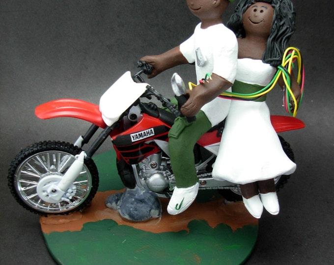 African American Motorcycle Wedding Cake Topper - Custom Made