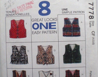 Little Girl's Lined Vest - 8 Great Looks Sewing Pattern - McCall's 7778 - Sizes 4-5, Breast 23 - 24